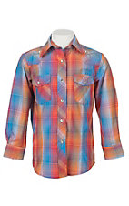 Cowgirl Legend Girls Blue and Orange Plaid Rhinestones Long Sleeve Western Snap Shirt