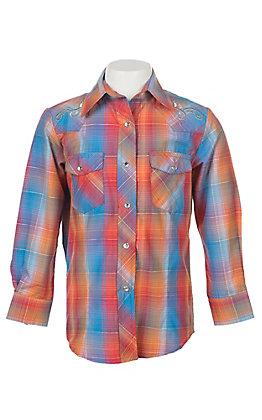 Cowgirl Legend Girls Blue and Orange Plaid Rhinestones Long Sleeve Western Snap Shirt