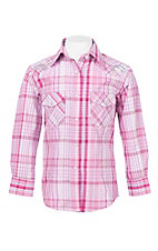 Wired Heart Girl's Pink and Purple Plaid with Silver Lurex and Embroidery Long Sleeve Western Snap Shirt