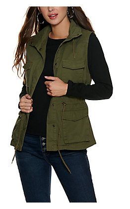 Cowgirl Legend Women's Olive Green Hooded Cargo Vest