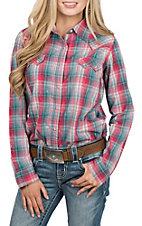 Wrangler Women's Pink Plaid Woven L/S Western Snap Shirt
