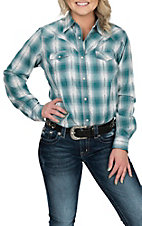 Wrangler Women's Turquoise Plaid Woven L/S Western Snap Shirt