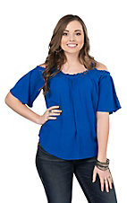 Wrangler Women's Blue with Crochet Details and Cold Shoulder 1/2 Sleeves Fashion Top