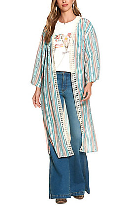 Wrangler Retro Women's Teal and Rust Aztec Print Long Sleeve Duster