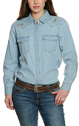 Wrangler Retro Women's Chambray with Embroidered Yokes Long Sleeve Western Shirt