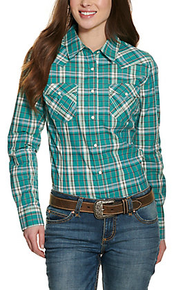 Wrangler Retro Women's Turquoise Green Plaid Long Sleeve Western Shirt