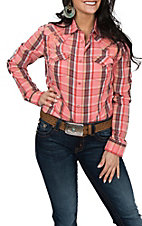 Wrangler Women's Coral Plaid Embroidered L/S Western Snap Shirt