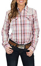 Wrangler Women's Coral Plaid Woven w/ Lace Yoke L/S Western Snap Shirt