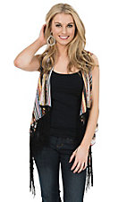 Wrangler Women's Multi Aztec Print With Black Fringe Sleeveless Cropped Chiffon Vest