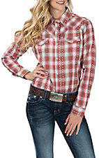 Wrangler Women's Rust Fancy Yoke Woven L/S Western Snap Shirt