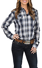 Wrangler Women's Navy Plaid Woven L/S Western Snap Shirt