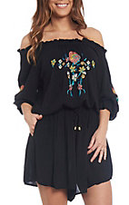Wrangler Women's Black Floral Embroidered Romper