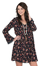 Wrangler Women's Navy Floral Print with Crochet Details Long Sleeve Dress