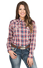 Wrangler Women's Navy, Pink, and White Plaid Long Sleeve Western Shirt