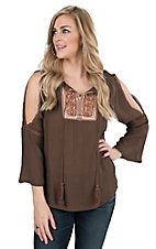 Wrangler Women's Brown with Embroidered Yoke and Cold Shoulder Long Bell Sleeves Fashion Top