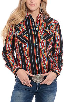 Wrangler Women's Black Multi Aztec Print Long Sleeve Western Shirt