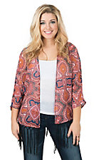 Rock 47 by Wrangler Women's Rust Multicolor Print with Fringe Kimono