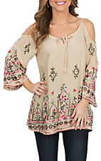 Wrangler Women's Cream Embroidered Cold Shoulder Fashion Shirt