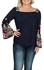Wrangler Women's Navy Off the Shoulder Peasant Fashion Shirt