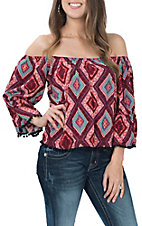 Wrangler Women's Maroon Print Off the Shoulder Fashion Shirt