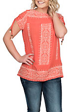 Wrangler Women's Coral w/ Cream Stitching and Tassels S/S Fashion Shirt