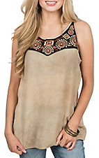 Wrangler Women's Tan Tank w/ Applique Center Front Fashion Shirt
