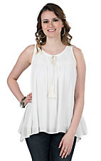 Wrangler Women's White with Lace Details Sleeveless Fashion Top