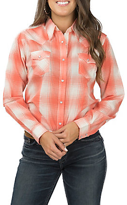 Wrangler Women's Coral and Ivory Plaid Long Sleeve Western Shirt