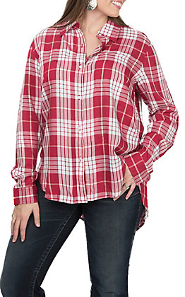 Wrangler Women's Long SLeeve Red Plaid Woven Button Down