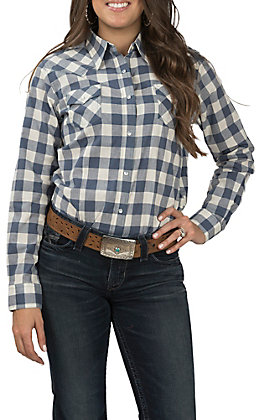 Wrangler Women's Blue and Ivory Plaid Long Sleeve Western Shirt