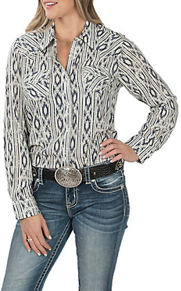 Wrangler Women's Blue and Ivory Aztec Long Sleeve Western Shirt