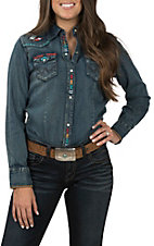Wrangler Women's Long Sleeve Denim Embroidered Vintage Western Snap Shirt