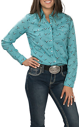 Wrangler Women's Turquoise with Black Skull Print Long Sleeve Western Shirt