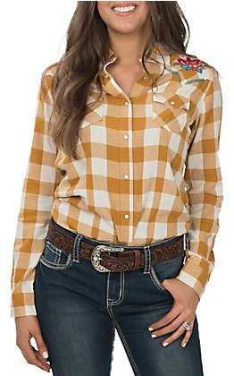 Wrangler Women's Mustard and Ivory Plaid with Floral Embroidery Long Sleeve Western Shirt