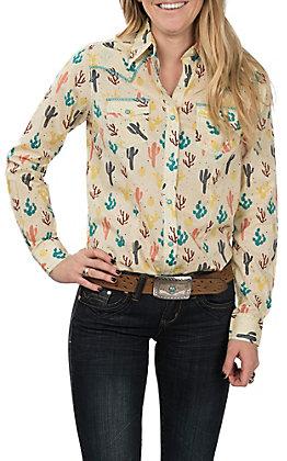 Wrangler Women's Ivory Cactus Print Long Sleeve Western Snap Shirt