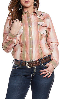 Wrangler Women's Woven Plaid Print Long Sleeve Western Snap Shirt