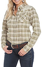 Wrangler Women's Olive Woven Plaid Print Long Sleeve Western Snap Shirt