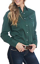 Wrangler Women's Green Long Sleeve Western Shirt