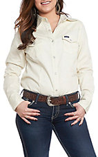 Wrangler Women's Ivory Long Sleeve Western Shirt