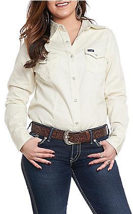 Wrangler Women's Ivory Long Sleeve Western Shirt