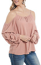 Wrangler Women's Blush Peasant Cold Shoulder Fashion Top