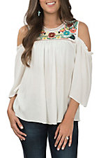 Wrangler Women's Ivory Cold Shoulder Embroidered Fashion Top