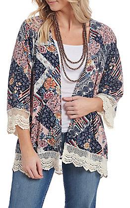 Wrangler Women's Navy Chevron Floral Lace Trimmed Kimono
