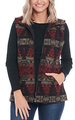 Cowgirl Legend Women's Red & Black Aztec Print Vest