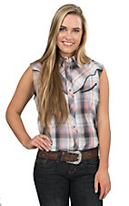 Wrangler Women's Navy Orange and Pink Plaid Sleeveless Western Shirt