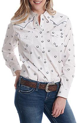 Wrangler Women's White Horseshoe Printed Long Sleeve Western Shirt