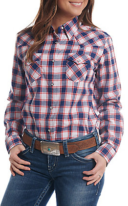 Wrangler Women's Red And Blue Plaid Diamond Snap Western Shirt