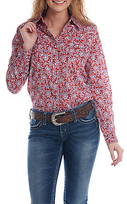 Wrangler Women's Red And Blue Paisley Pearl Snap Western Shirt