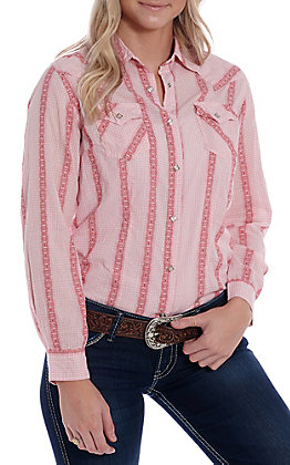 Wrangler Women's Mauve Rose Vertical Print Long Sleeve Western Snap Shirt