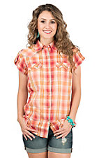 Wrangler Women's Orange & Red Plaid Short Sleeve Western Shirt